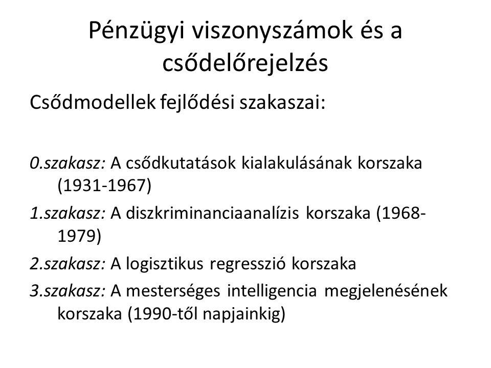 Pénzügyi viszonyszámok és a csődelőrejelzés Csődmodellek fejlődési szakaszai: 0.szakasz: A csődkutatások kialakulásának korszaka (1931-1967) 1.szakasz: A diszkriminanciaanalízis korszaka (1968- 1979) 2.szakasz: A logisztikus regresszió korszaka 3.szakasz: A mesterséges intelligencia megjelenésének korszaka (1990-től napjainkig)