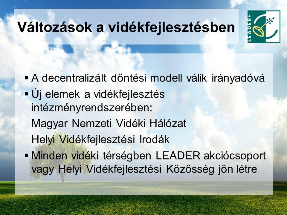 10 Változások a vidékfejlesztésben  A decentralizált döntési modell válik irányadóvá  Új elemek a vidékfejlesztés intézményrendszerében: Magyar Nemz