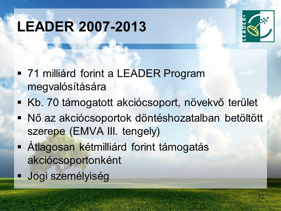 12 LEADER 2007-2013  71 milliárd forint a LEADER Program megvalósítására  Kb. 70 támogatott akciócsoport, növekvő terület  Nő az akciócsoportok dön