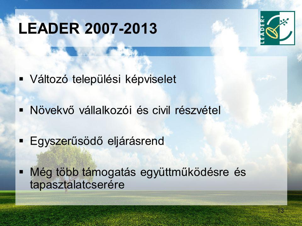 13 LEADER 2007-2013  Változó települési képviselet  Növekvő vállalkozói és civil részvétel  Egyszerűsödő eljárásrend  Még több támogatás együttműk