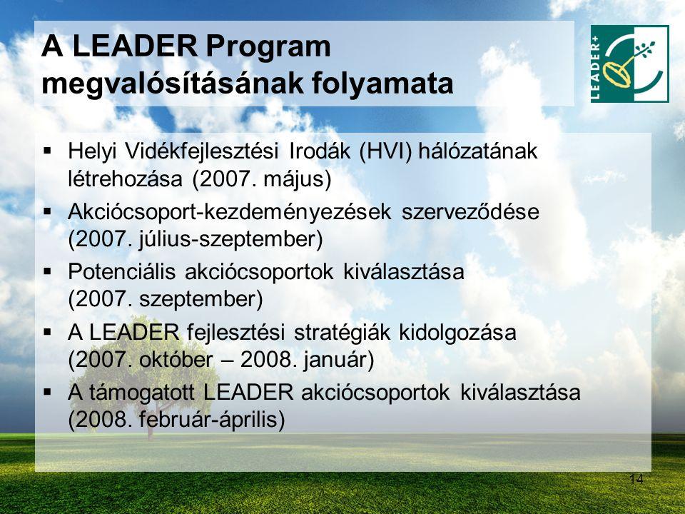14 A LEADER Program megvalósításának folyamata  Helyi Vidékfejlesztési Irodák (HVI) hálózatának létrehozása (2007. május)  Akciócsoport-kezdeményezé