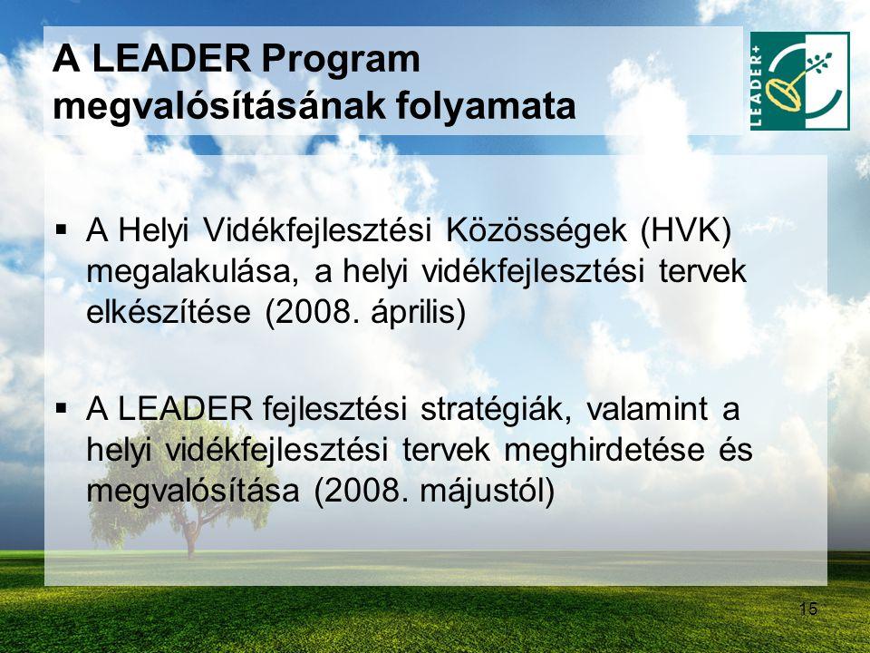 15  A Helyi Vidékfejlesztési Közösségek (HVK) megalakulása, a helyi vidékfejlesztési tervek elkészítése (2008. április)  A LEADER fejlesztési straté