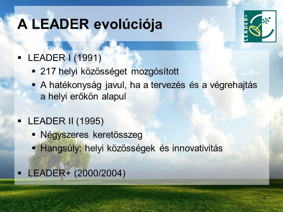 4 A LEADER evolúciója  LEADER I (1991)  217 helyi közösséget mozgósított  A hatékonyság javul, ha a tervezés és a végrehajtás a helyi erőkön alapul