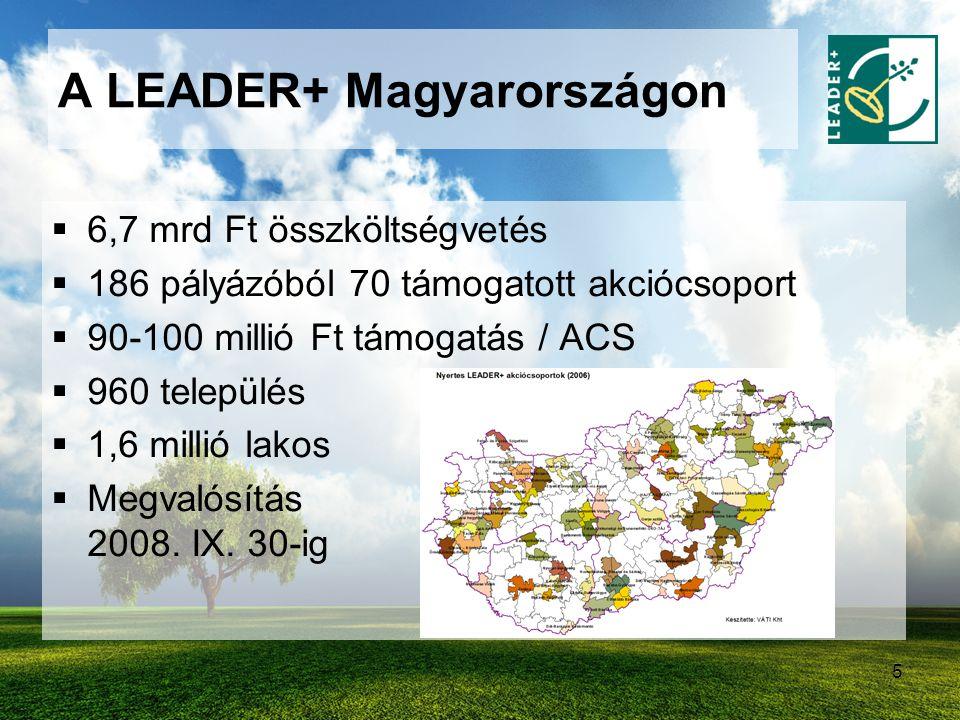 5 A LEADER+ Magyarországon  6,7 mrd Ft összköltségvetés  186 pályázóból 70 támogatott akciócsoport  90-100 millió Ft támogatás / ACS  960 települé
