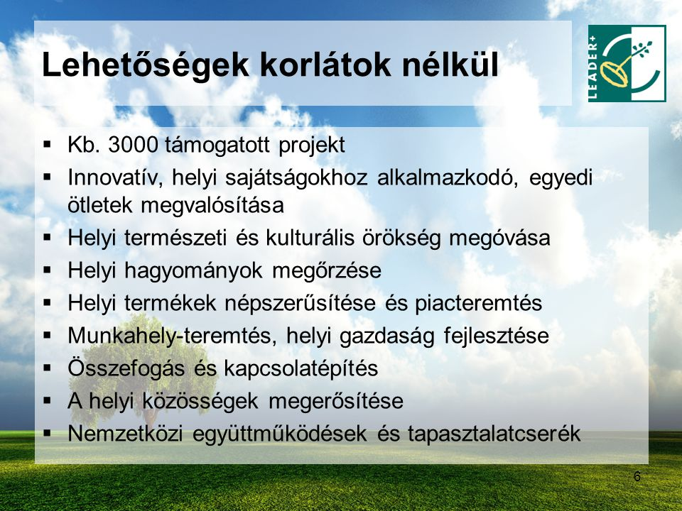 6 Lehetőségek korlátok nélkül  Kb. 3000 támogatott projekt  Innovatív, helyi sajátságokhoz alkalmazkodó, egyedi ötletek megvalósítása  Helyi termés