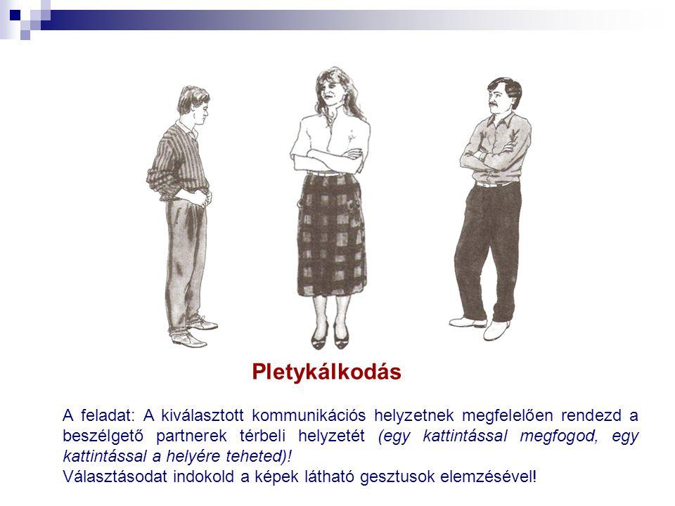 Pletykálkodás A feladat: A kiválasztott kommunikációs helyzetnek megfelelően rendezd a beszélgető partnerek térbeli helyzetét (egy kattintással megfog