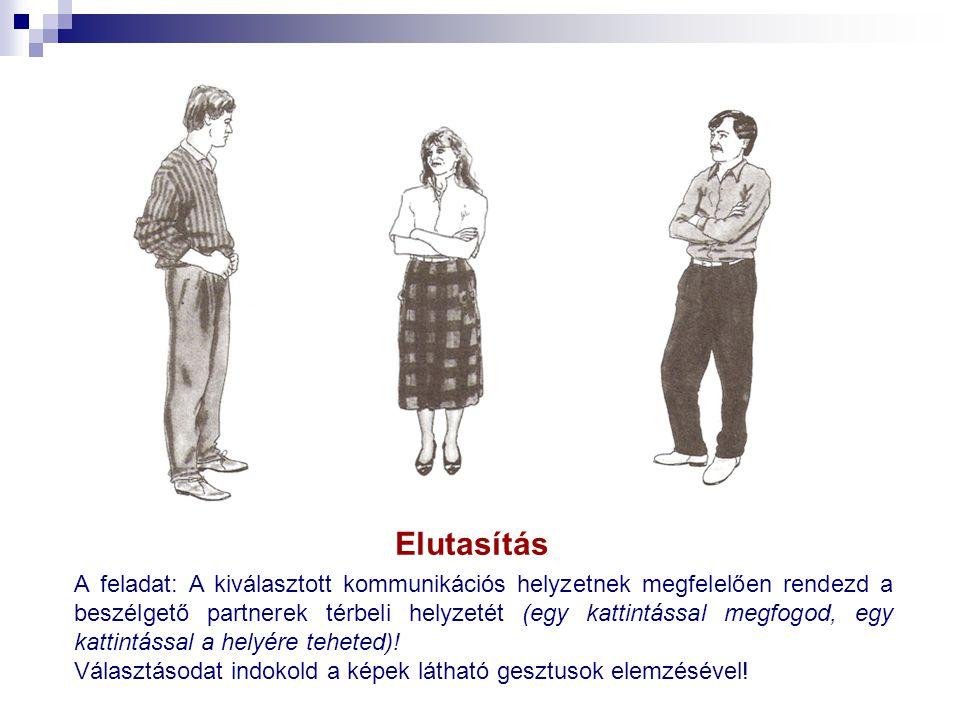 Elutasítás A feladat: A kiválasztott kommunikációs helyzetnek megfelelően rendezd a beszélgető partnerek térbeli helyzetét (egy kattintással megfogod,