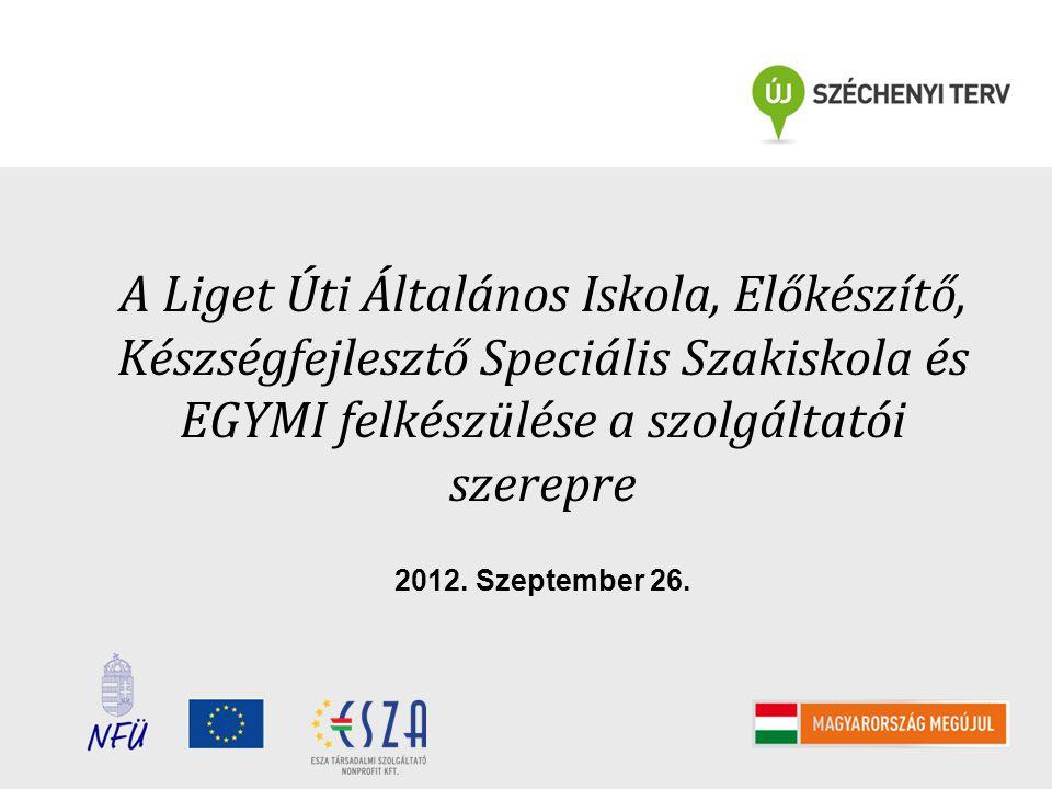 A Liget Úti Általános Iskola, Előkészítő, Készségfejlesztő Speciális Szakiskola és EGYMI felkészülése a szolgáltatói szerepre 2012. Szeptember 26.