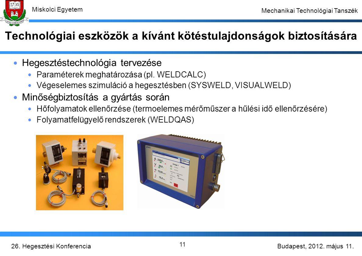 Budapest, 2012. május 11.26. Hegesztési Konferencia Miskolci Egyetem Mechanikai Technológiai Tanszék 11 Technológiai eszközök a kívánt kötéstulajdonsá