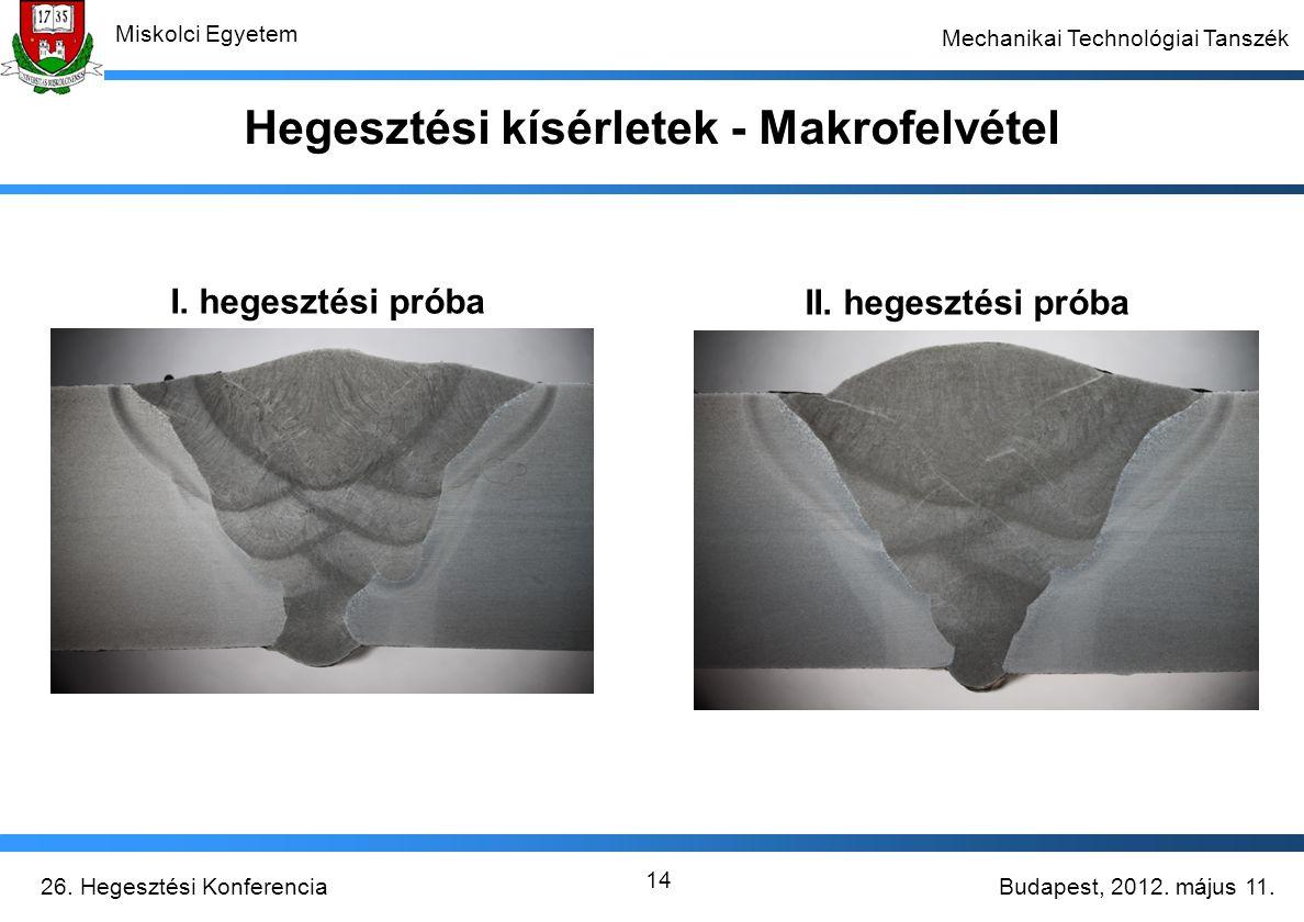 Budapest, 2012. május 11.26. Hegesztési Konferencia Miskolci Egyetem Mechanikai Technológiai Tanszék 14 Hegesztési kísérletek - Makrofelvétel I. heges