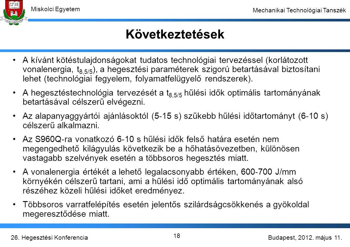 Budapest, 2012. május 11.26. Hegesztési Konferencia Miskolci Egyetem Mechanikai Technológiai Tanszék 18 Következtetések A kívánt kötéstulajdonságokat