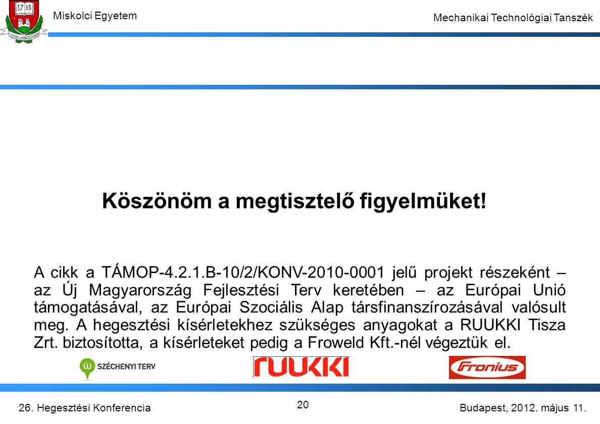 Budapest, 2012. május 11.26. Hegesztési Konferencia Miskolci Egyetem Mechanikai Technológiai Tanszék 20 Köszönöm a megtisztelő figyelmüket! A cikk a T