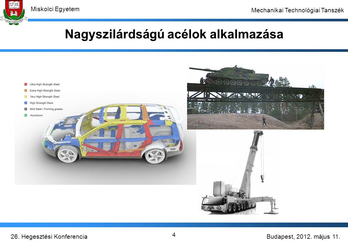 Budapest, 2012. május 11.26. Hegesztési Konferencia Miskolci Egyetem Mechanikai Technológiai Tanszék 4 Nagyszilárdságú acélok alkalmazása