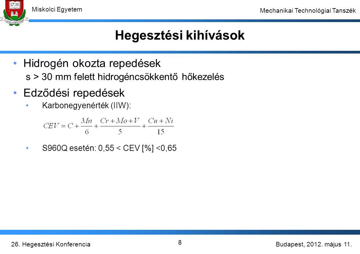 Budapest, 2012. május 11.26. Hegesztési Konferencia Miskolci Egyetem Mechanikai Technológiai Tanszék 8 Hegesztési kihívások Hidrogén okozta repedések