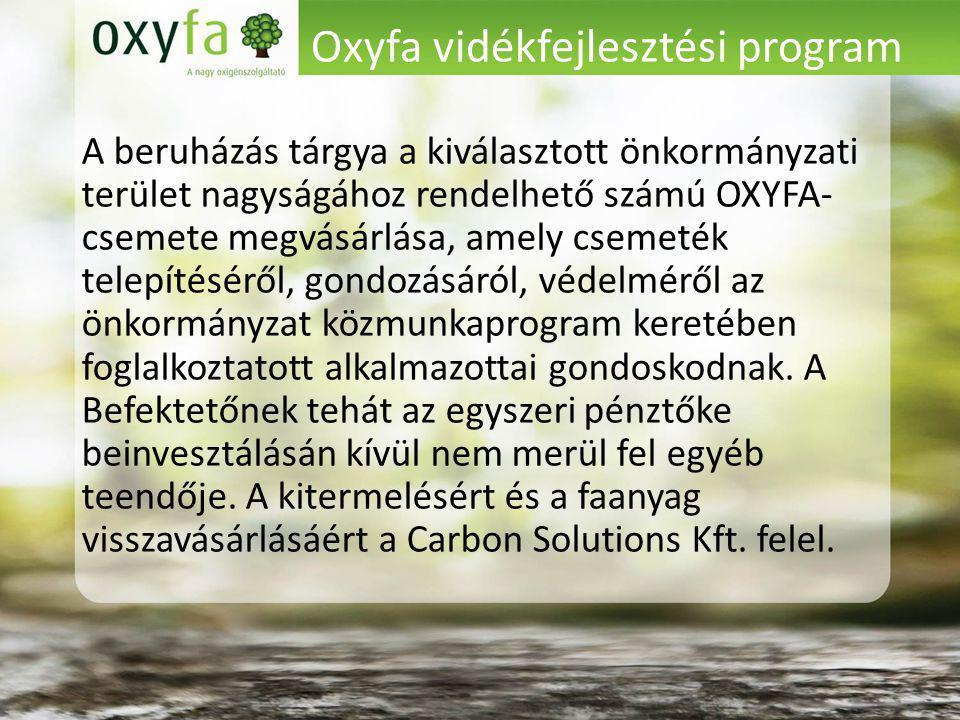 Oxyfa vidékfejlesztési program A beruházás tárgya a kiválasztott önkormányzati terület nagyságához rendelhető számú OXYFA- csemete megvásárlása, amely csemeték telepítéséről, gondozásáról, védelméről az önkormányzat közmunkaprogram keretében foglalkoztatott alkalmazottai gondoskodnak.