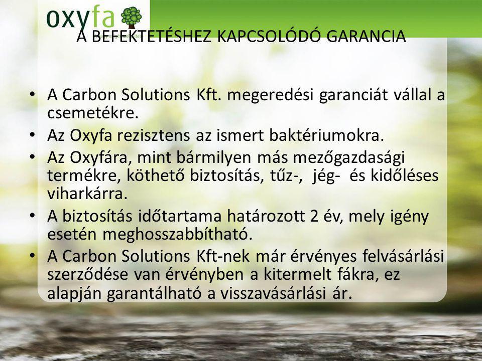 A BEFEKTETÉSHEZ KAPCSOLÓDÓ GARANCIA A Carbon Solutions Kft.