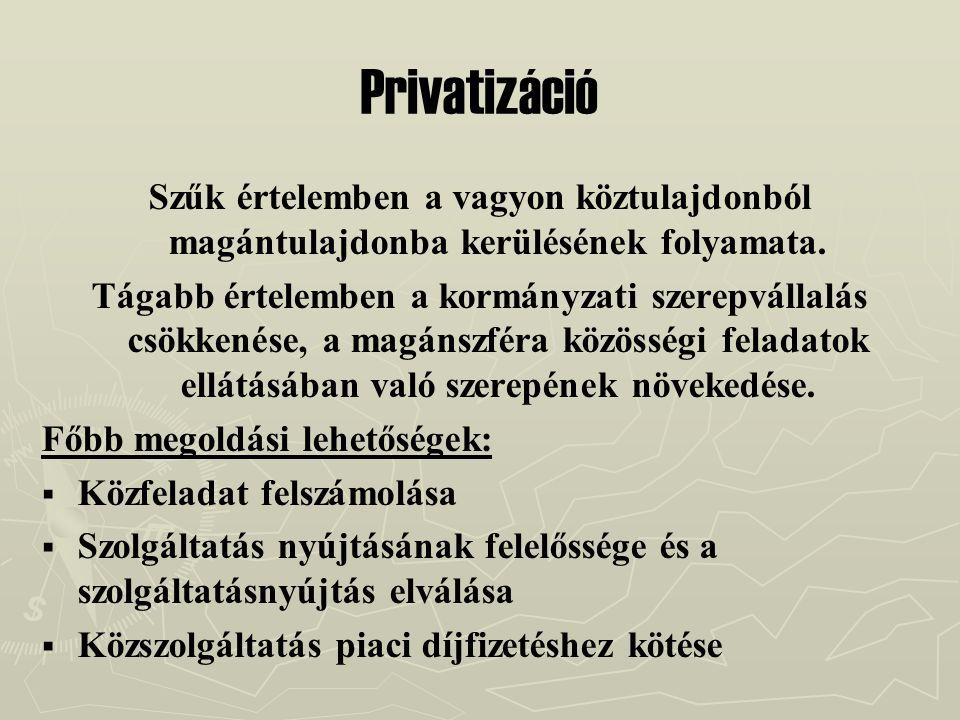 Privatizáció Szűk értelemben a vagyon köztulajdonból magántulajdonba kerülésének folyamata. Tágabb értelemben a kormányzati szerepvállalás csökkenése,