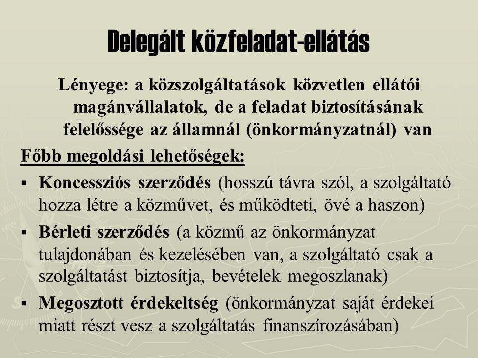 Delegált közfeladat-ellátás Lényege: a közszolgáltatások közvetlen ellátói magánvállalatok, de a feladat biztosításának felelőssége az államnál (önkor