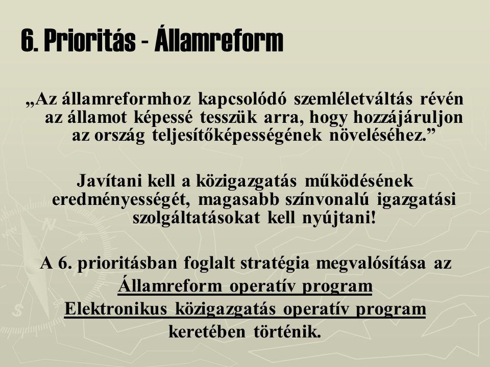 """6. Prioritás - Államreform """"Az államreformhoz kapcsolódó szemléletváltás révén az államot képessé tesszük arra, hogy hozzájáruljon az ország teljesítő"""
