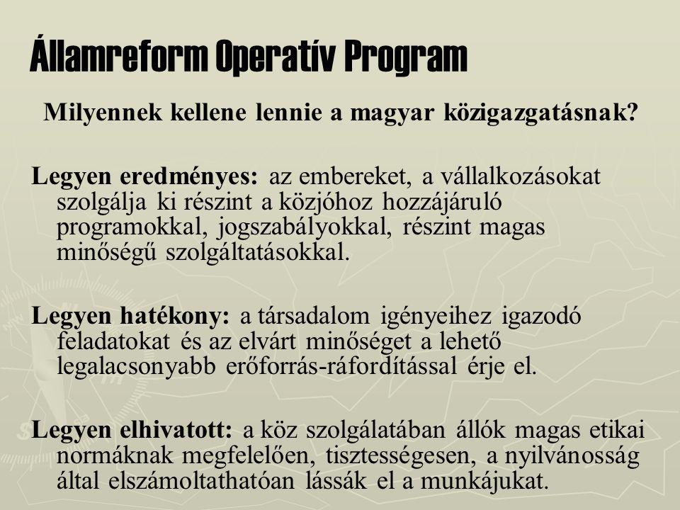 Államreform Operatív Program Milyennek kellene lennie a magyar közigazgatásnak? Legyen eredményes: az embereket, a vállalkozásokat szolgálja ki részin