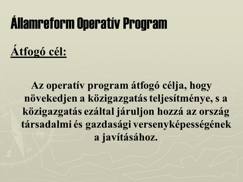 Államreform Operatív Program Átfogó cél: Az operatív program átfogó célja, hogy növekedjen a közigazgatás teljesítménye, s a közigazgatás ezáltal járuljon hozzá az ország társadalmi és gazdasági versenyképességének a javításához.