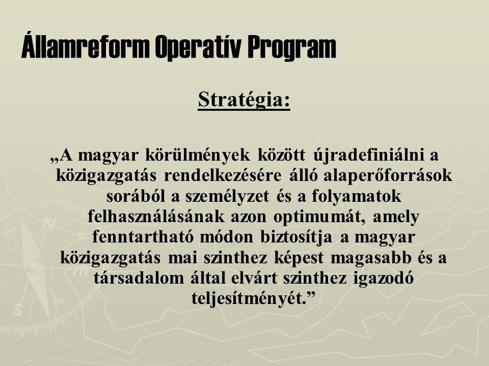 """Államreform Operatív Program Stratégia: """"A magyar körülmények között újradefiniálni a közigazgatás rendelkezésére álló alaperőforrások sorából a személyzet és a folyamatok felhasználásának azon optimumát, amely fenntartható módon biztosítja a magyar közigazgatás mai szinthez képest magasabb és a társadalom által elvárt szinthez igazodó teljesítményét."""