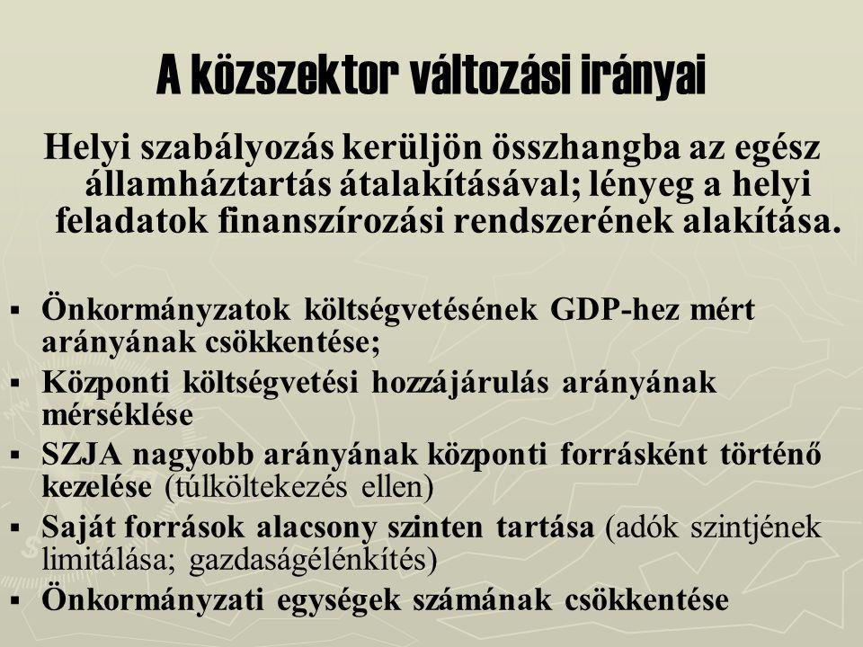 A közszektor változási irányai Helyi szabályozás kerüljön összhangba az egész államháztartás átalakításával; lényeg a helyi feladatok finanszírozási r