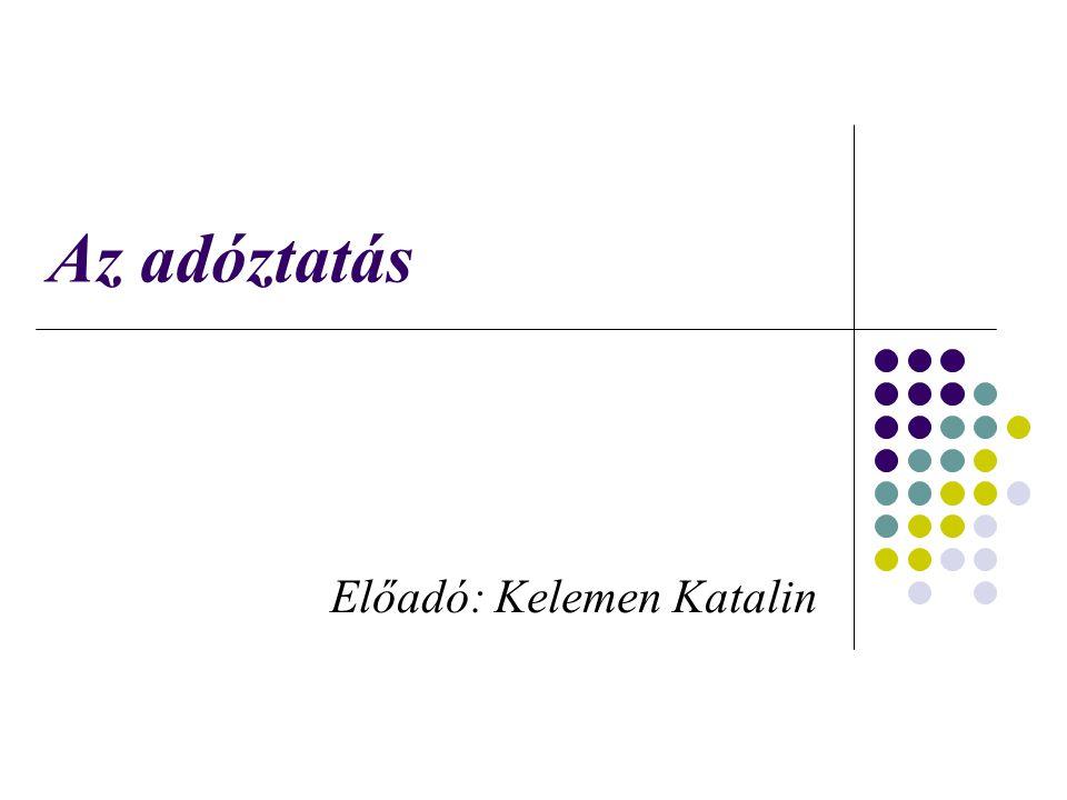 Az adóztatás Előadó: Kelemen Katalin
