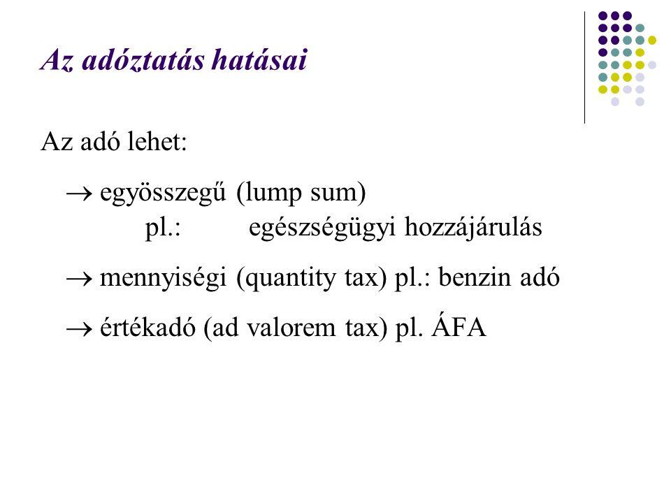 Az adóztatás hatásai Az adó lehet:  egyösszegű (lump sum) pl.: egészségügyi hozzájárulás  mennyiségi (quantity tax) pl.: benzin adó  értékadó (ad v