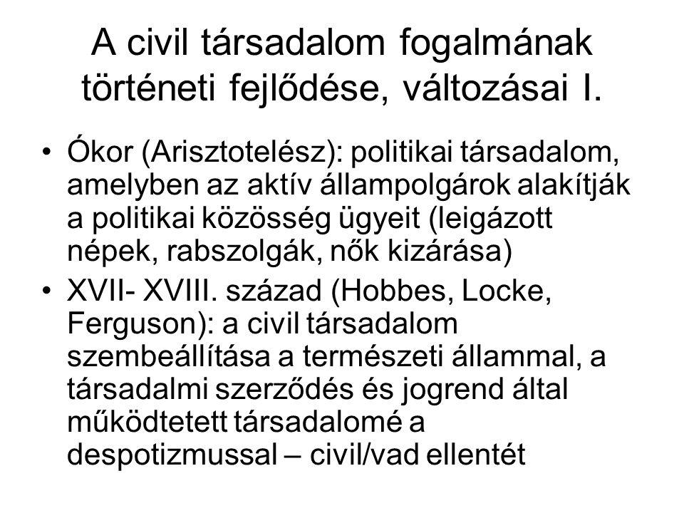 A civil társadalom fogalmának történeti fejlődése, változásai II.