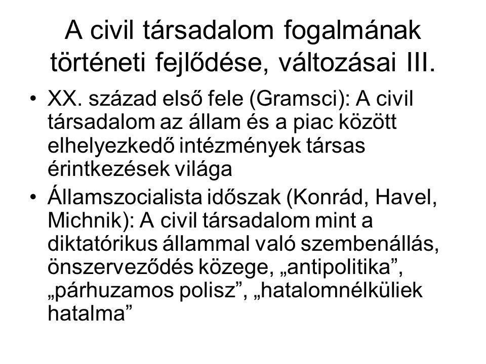 A civil társadalom fogalmának történeti fejlődése, változásai III.