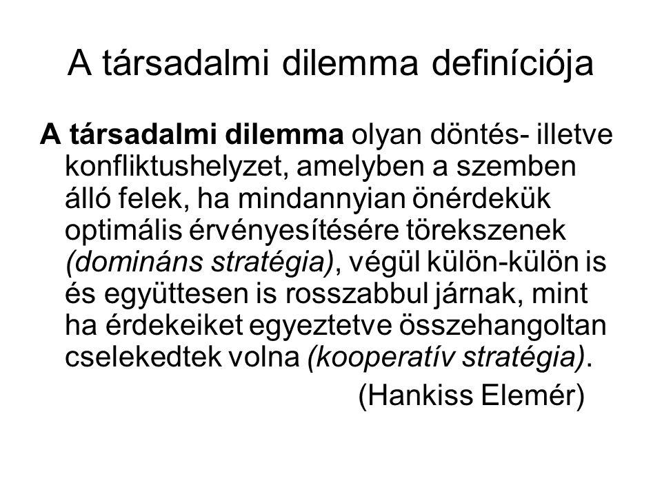 A társadalmi dilemma definíciója A társadalmi dilemma olyan döntés- illetve konfliktushelyzet, amelyben a szemben álló felek, ha mindannyian önérdekük