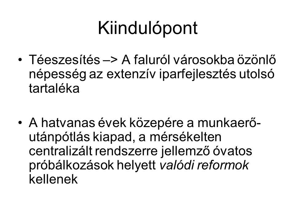 """A válság legfontosabb tünete: a külgazdasági egyensúlyhiány Az 1959-ben még csak 1,6 md forintos adósságunk 1963-ra már 4,1 md-ra növekszik Oka, hogy összeomlik a magyar külkereskedelem """"iparcikket nyersanyagért stratégiája -A világpiaci színvonaltól mind jobban elmaradó magyar iparcikkek egyre kevésbé versenyképesek -Ezért a nyersanyagok mellett az iparcikkek importjára is egyre gyakrabban szorulunk rá –> eladósodás"""