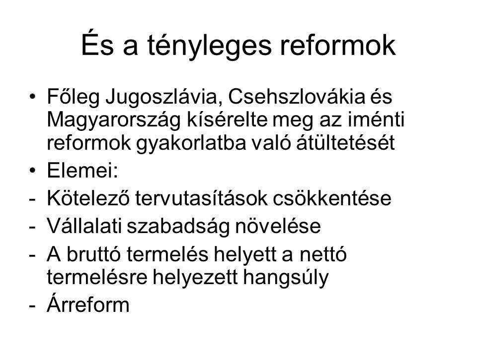 """A magyar reform 1964 és 1968 között Nyers Rezső (Friss István és Pardi Imre) vezetésével megkezdődik a reform előkészítése Legfontosabb jellegzetessége az óvatosság: valódi piacot nem kívántak létrehozni, a reformokat szabályozókkal bástyázták körül (""""szimulált piac ) -ok: Jugoszláviában az 1965-ös reformok után elszabadult a munkanélküliség és infláció -Csehszlovákia: katonai beavatkozás 1968-ban Eredetileg kétlépcsős reform terve: -1968: """"új gazdasági mechanizmus -A radikálisabb második lépcsőre (1971-től) már alig-alig került sor"""