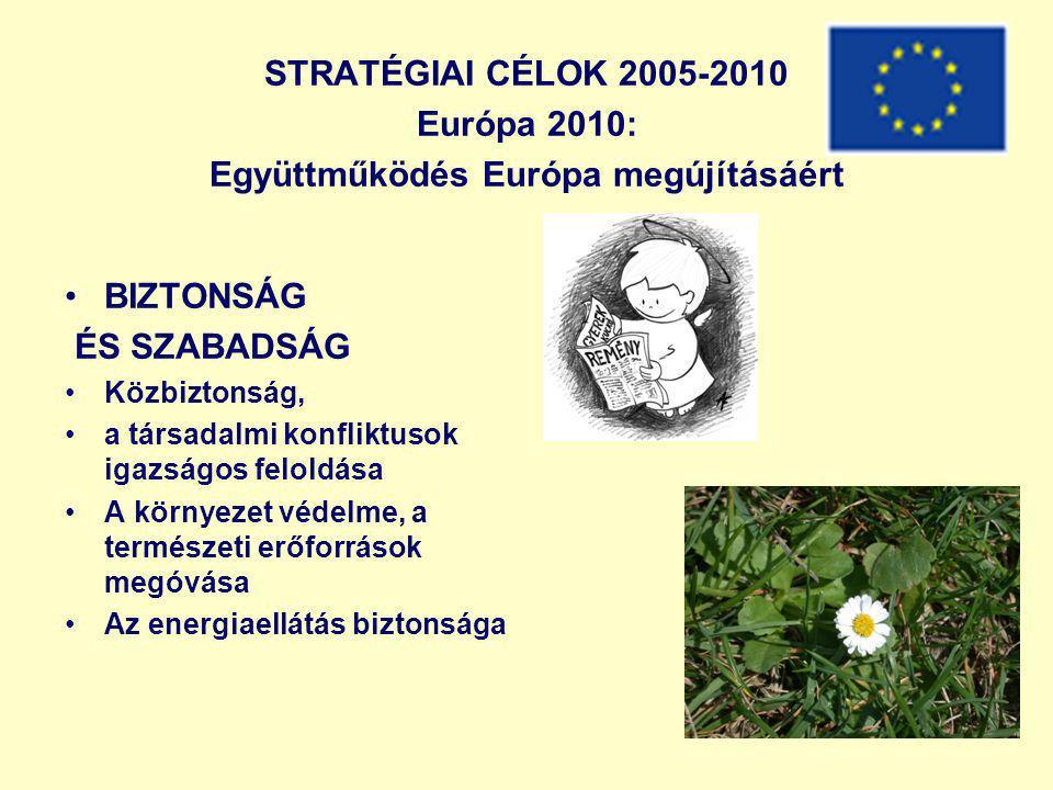 STRATÉGIAI CÉLOK 2005-2010 Európa 2010: Együttműködés Európa megújításáért BIZTONSÁG ÉS SZABADSÁG Közbiztonság, a társadalmi konfliktusok igazságos feloldása A környezet védelme, a természeti erőforrások megóvása Az energiaellátás biztonsága