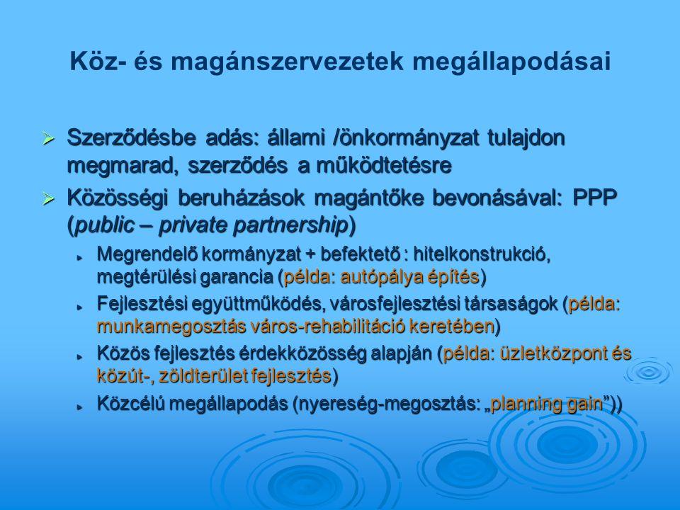 Köz- és magánszervezetek megállapodásai  Szerződésbe adás: állami /önkormányzat tulajdon megmarad, szerződés a működtetésre  Közösségi beruházások m