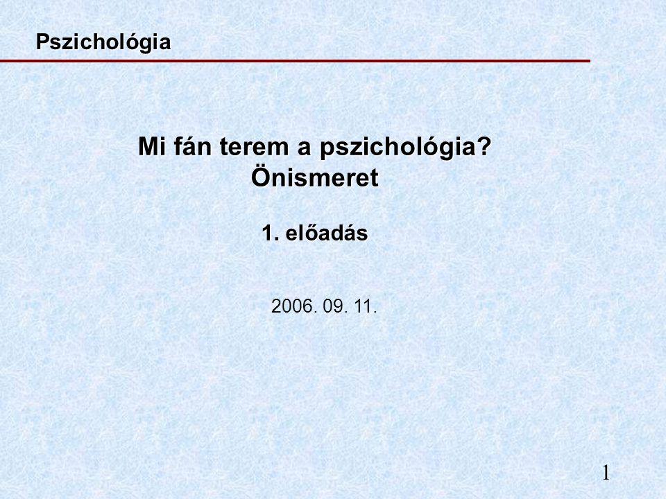 1 Mi fán terem a pszichológia? Önismeret 1. előadás Pszichológia 2006. 09. 11.