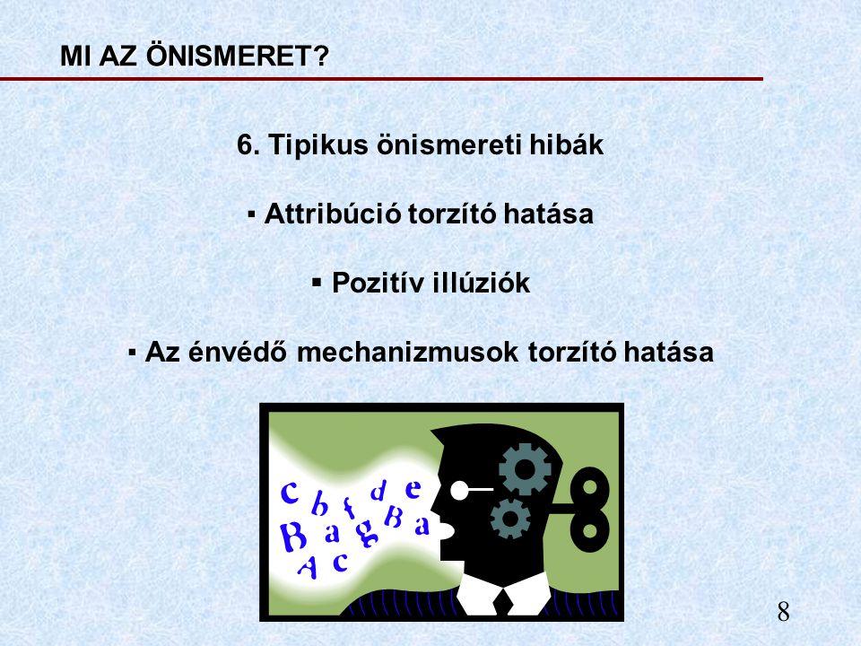 8 MI AZ ÖNISMERET? 6. Tipikus önismereti hibák ▪ Attribúció torzító hatása  Pozitív illúziók ▪ Az énvédő mechanizmusok torzító hatása