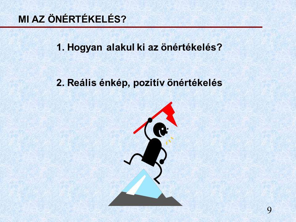 9 MI AZ ÖNÉRTÉKELÉS? 1. Hogyan alakul ki az önértékelés? 2. Reális énkép, pozitív önértékelés