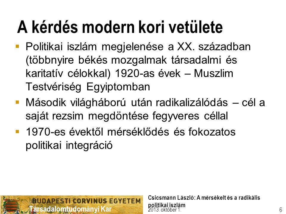 Társadalomtudományi Kar A kérdés modern kori vetülete  Politikai iszlám megjelenése a XX.