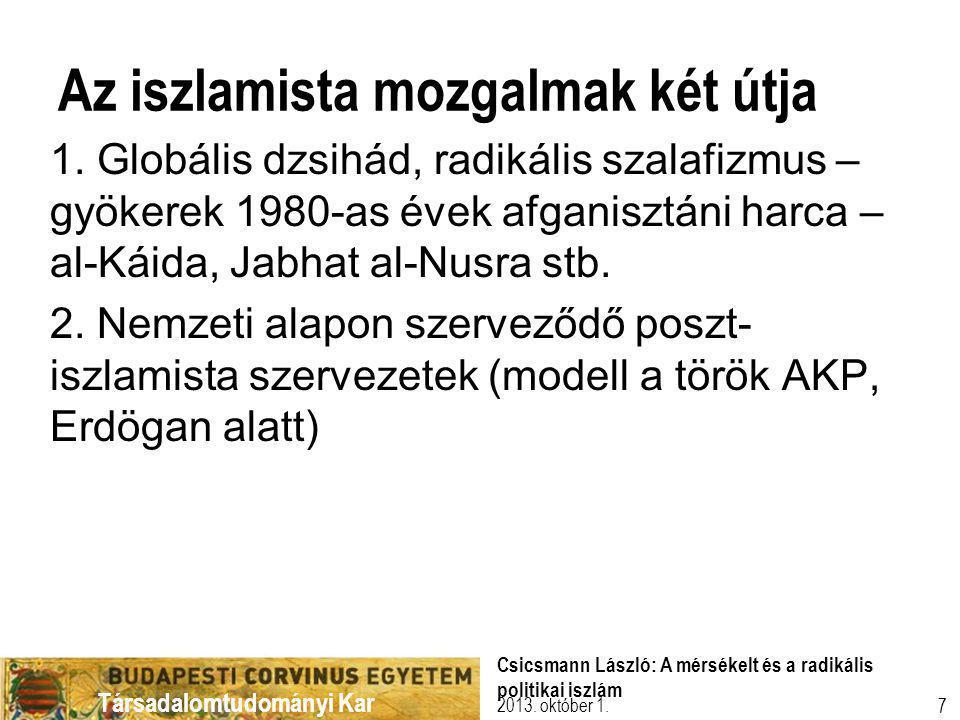 Társadalomtudományi Kar Az iszlamista mozgalmak két útja 1.
