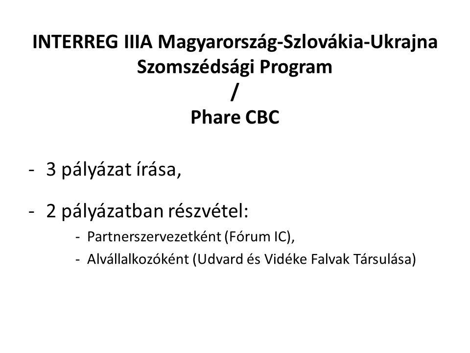 INTERREG IIIA Magyarország-Szlovákia-Ukrajna Szomszédsági Program / Phare CBC -3 pályázat írása, -2 pályázatban részvétel: -Partnerszervezetként (Fórum IC), -Alvállalkozóként (Udvard és Vidéke Falvak Társulása)