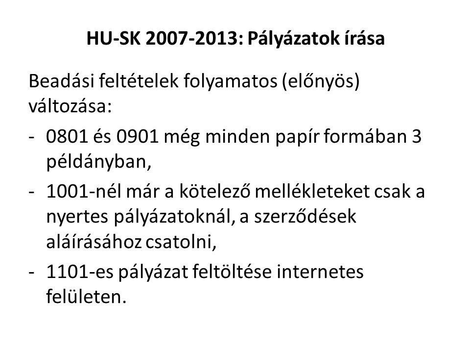 HU-SK 2007-2013: Pályázatok írása Beadási feltételek folyamatos (előnyös) változása: -0801 és 0901 még minden papír formában 3 példányban, -1001-nél már a kötelező mellékleteket csak a nyertes pályázatoknál, a szerződések aláírásához csatolni, -1101-es pályázat feltöltése internetes felületen.