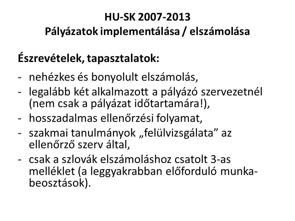 """HU-SK 2007-2013 Pályázatok implementálása / elszámolása Észrevételek, tapasztalatok: -nehézkes és bonyolult elszámolás, -legalább két alkalmazott a pályázó szervezetnél (nem csak a pályázat időtartamára!), -hosszadalmas ellenőrzési folyamat, -szakmai tanulmányok """"felülvizsgálata az ellenőrző szerv által, -csak a szlovák elszámoláshoz csatolt 3-as melléklet (a leggyakrabban előforduló munka- beosztások)."""