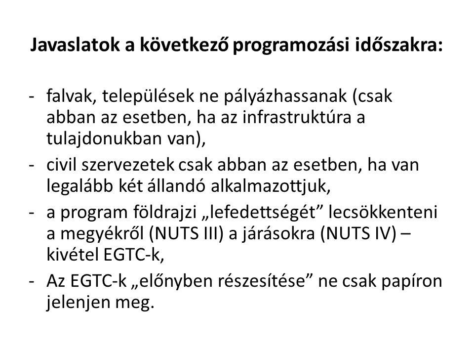 """Javaslatok a következő programozási időszakra: -falvak, települések ne pályázhassanak (csak abban az esetben, ha az infrastruktúra a tulajdonukban van), -civil szervezetek csak abban az esetben, ha van legalább két állandó alkalmazottjuk, -a program földrajzi """"lefedettségét lecsökkenteni a megyékről (NUTS III) a járásokra (NUTS IV) – kivétel EGTC-k, -Az EGTC-k """"előnyben részesítése ne csak papíron jelenjen meg."""