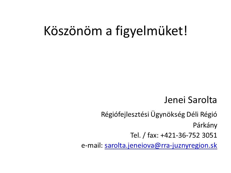 Köszönöm a figyelmüket. Jenei Sarolta Régiófejlesztési Ügynökség Déli Régió Párkány Tel.