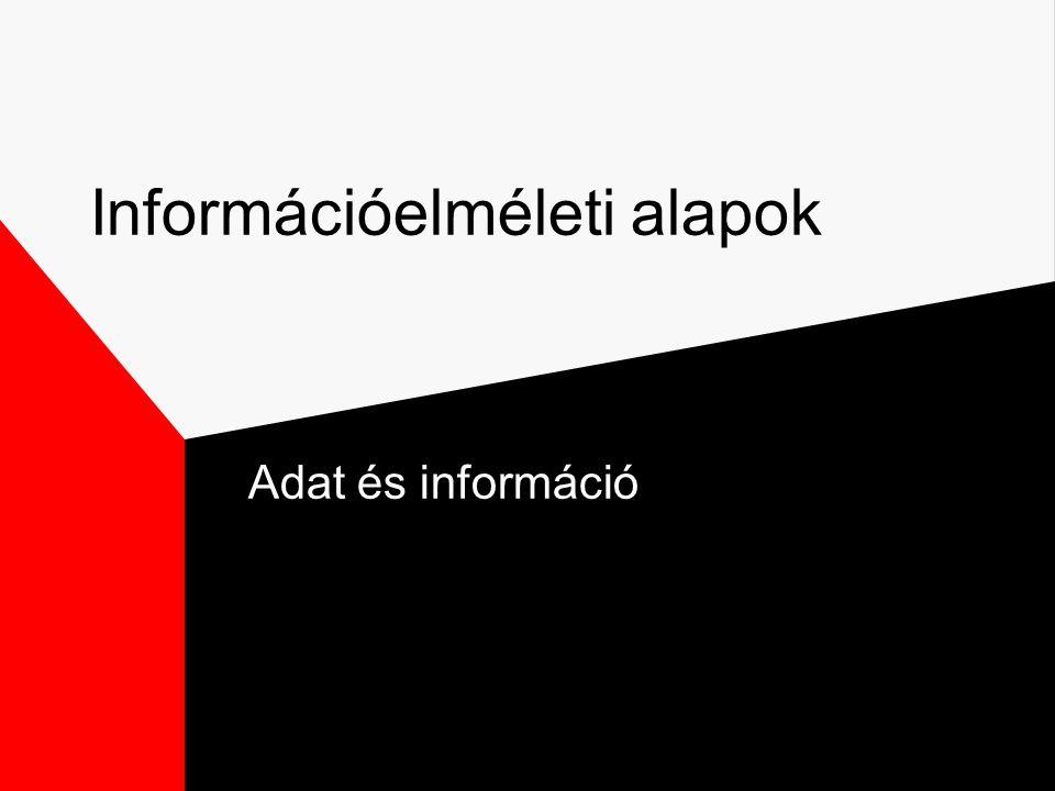 Információelméleti alapok Adat és információ