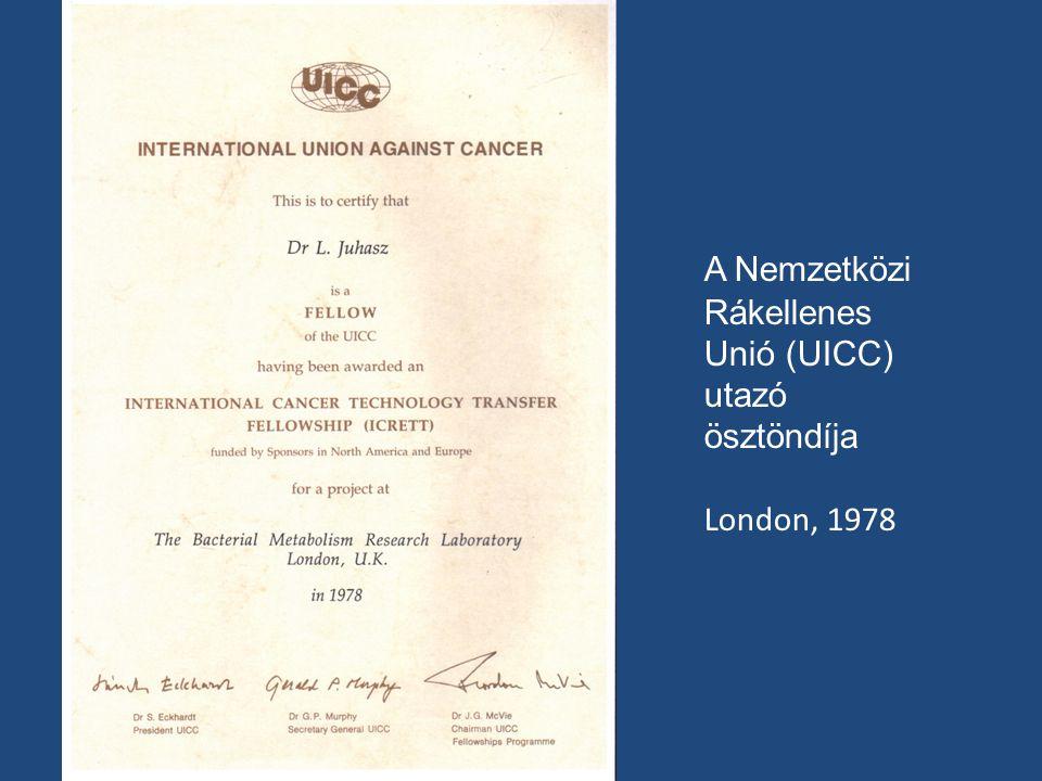 A Nemzetközi Rákellenes Unió (UICC) utazó ösztöndíja London, 1978