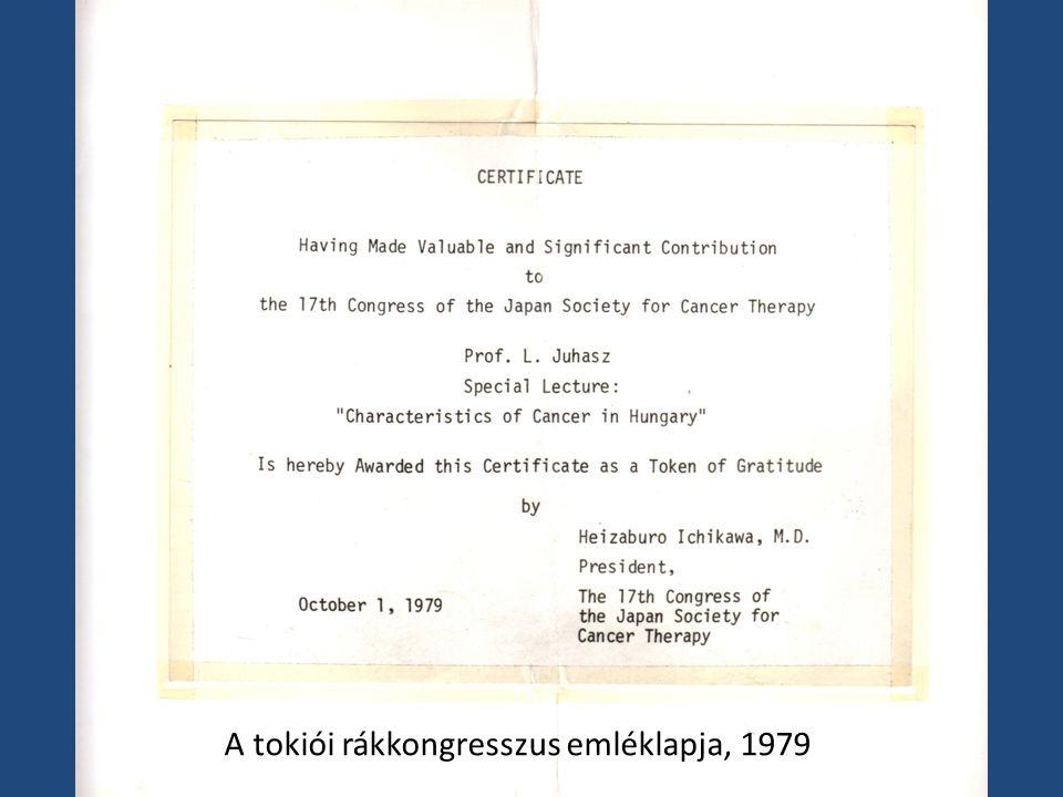 A tokiói rákkongresszus emléklapja, 1979