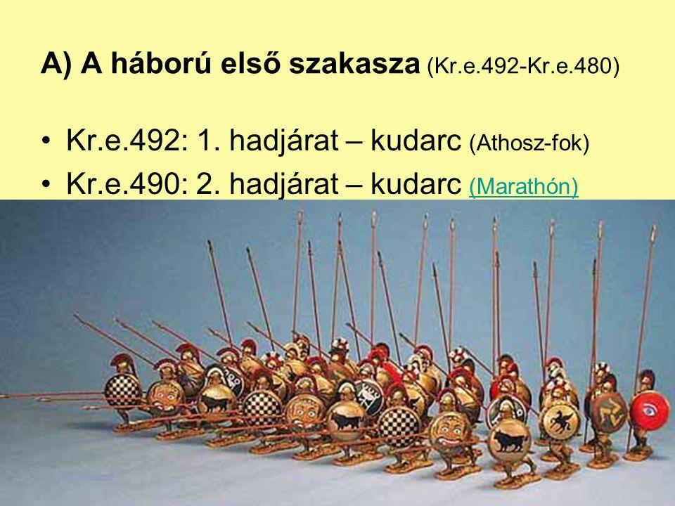 A) A háború első szakasza (Kr.e.492-Kr.e.480) Kr.e.492: 1. hadjárat – kudarc (Athosz-fok) Kr.e.490: 2. hadjárat – kudarc (Marathón) (Marathón)